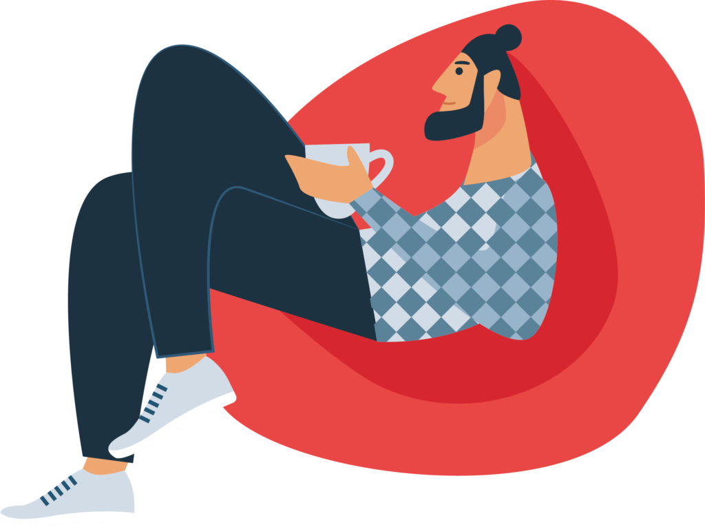 man sitting on a beanchair illustration